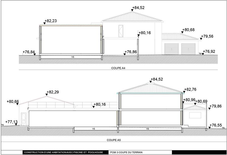 Exemple permis de construire provence permis de - Un plan en coupe du terrain et de la construction ...