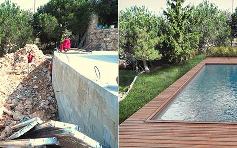 Insertion 3d d'un projet de piscine avec terrasse bois