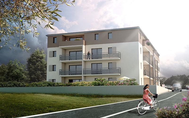perspective 3d de promotion immobilière Les jardins d'Antine