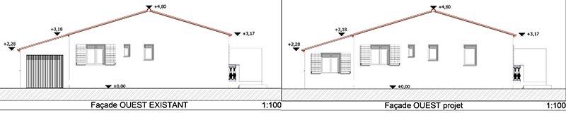 Façades existante et façade projet