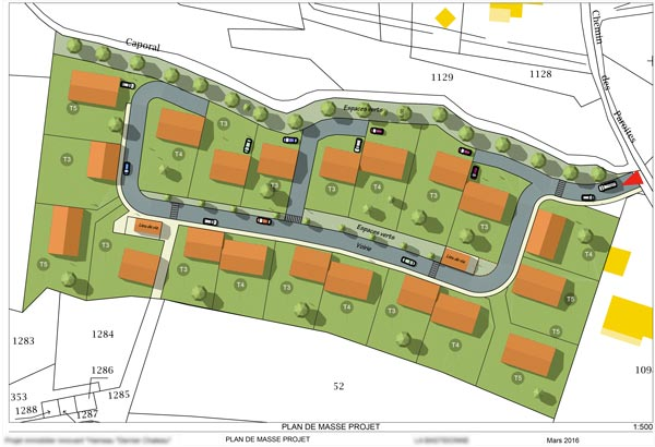 Plan de masse pour un projet de lotissement dans le vaucluse