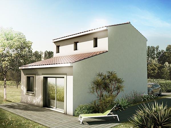 Visuel 3d maison R+1 avec jardin