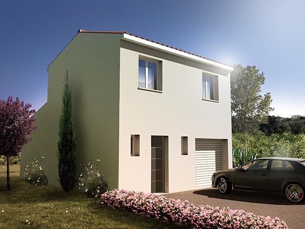 Visuel 3d maison R+1 avec garage