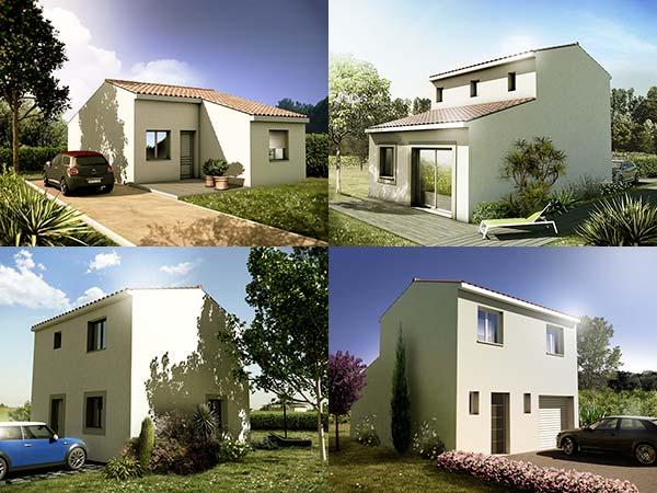 4 modèles 3d de maisons