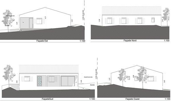 plan de façades de maison individuelle