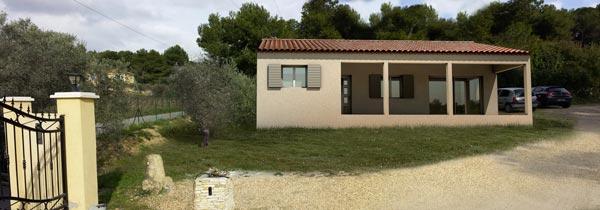 Photo avec le projet de maison individuelle intégré en 3d